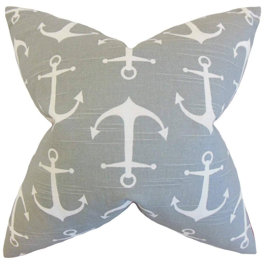 Gray Cotton Graphic Coastal Throw Pillow Cover