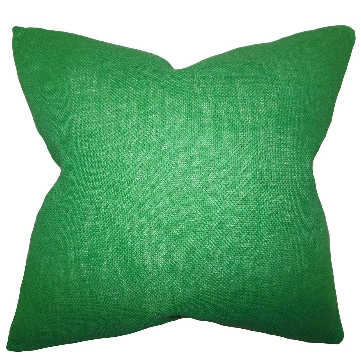 Green Synthetic Solid Contemporary Throw Pillow Cover