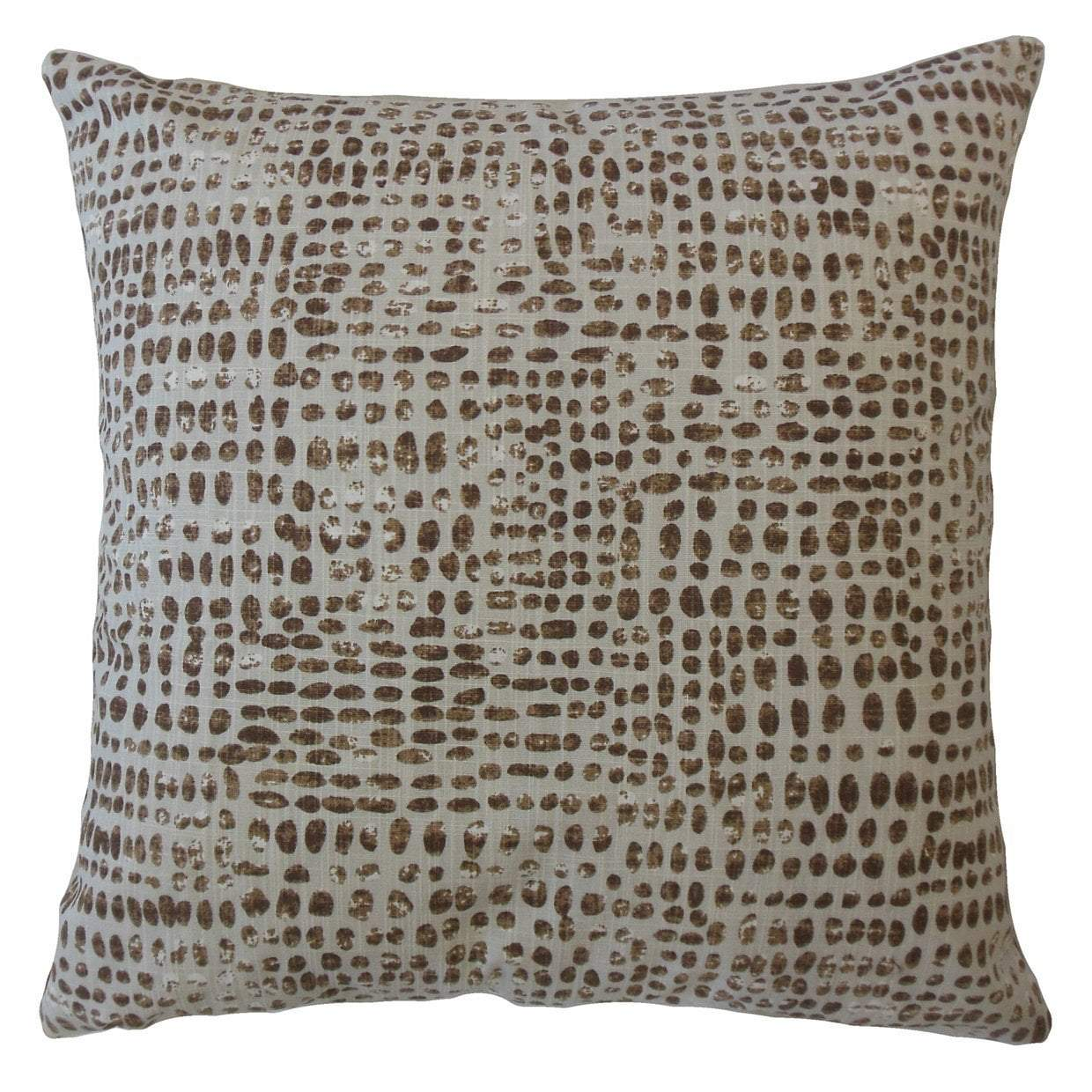 Brown Cotton Polka Dot Contemporary Throw Pillow Cover