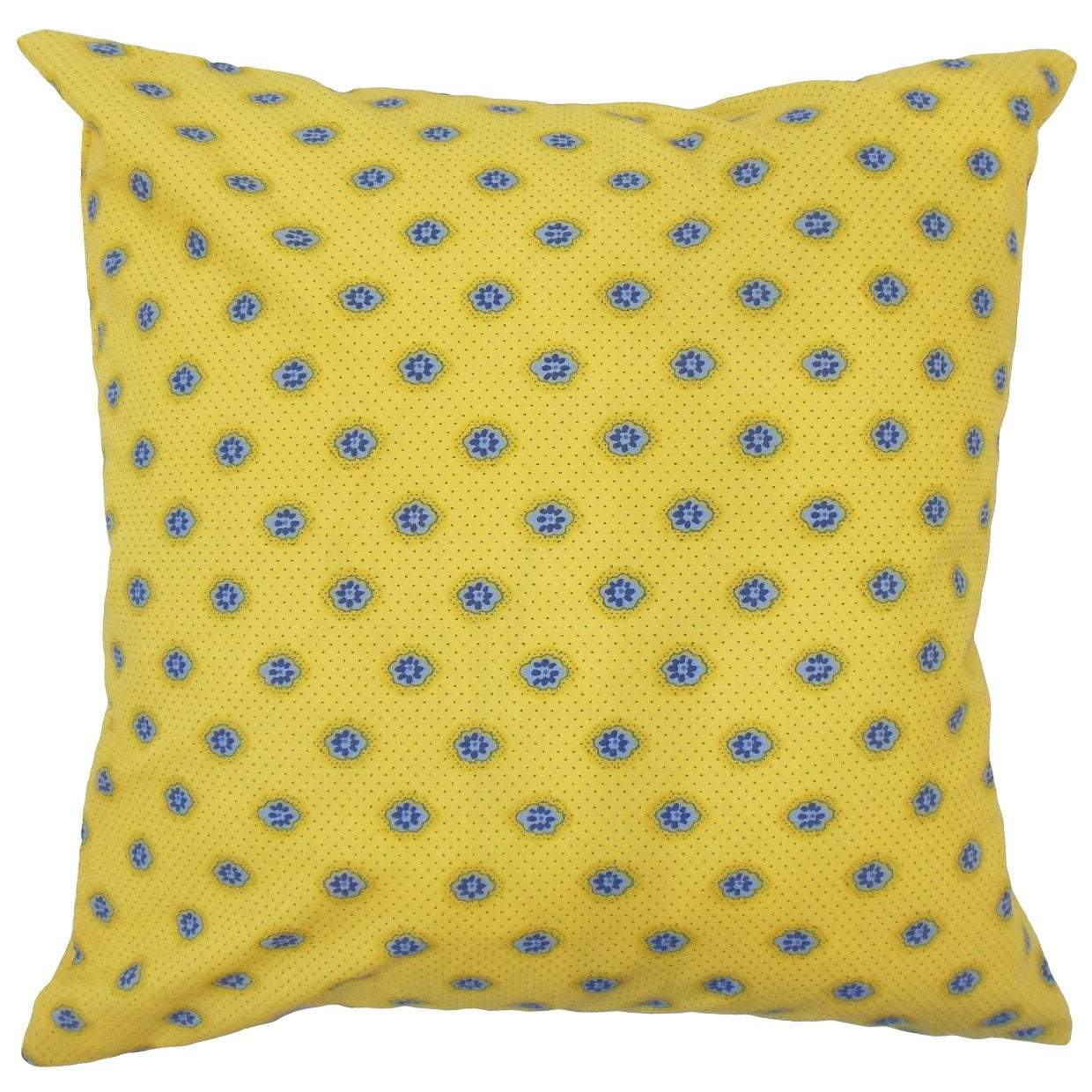 Yellow Cotton Graphic Contemporary Throw Pillow Cover