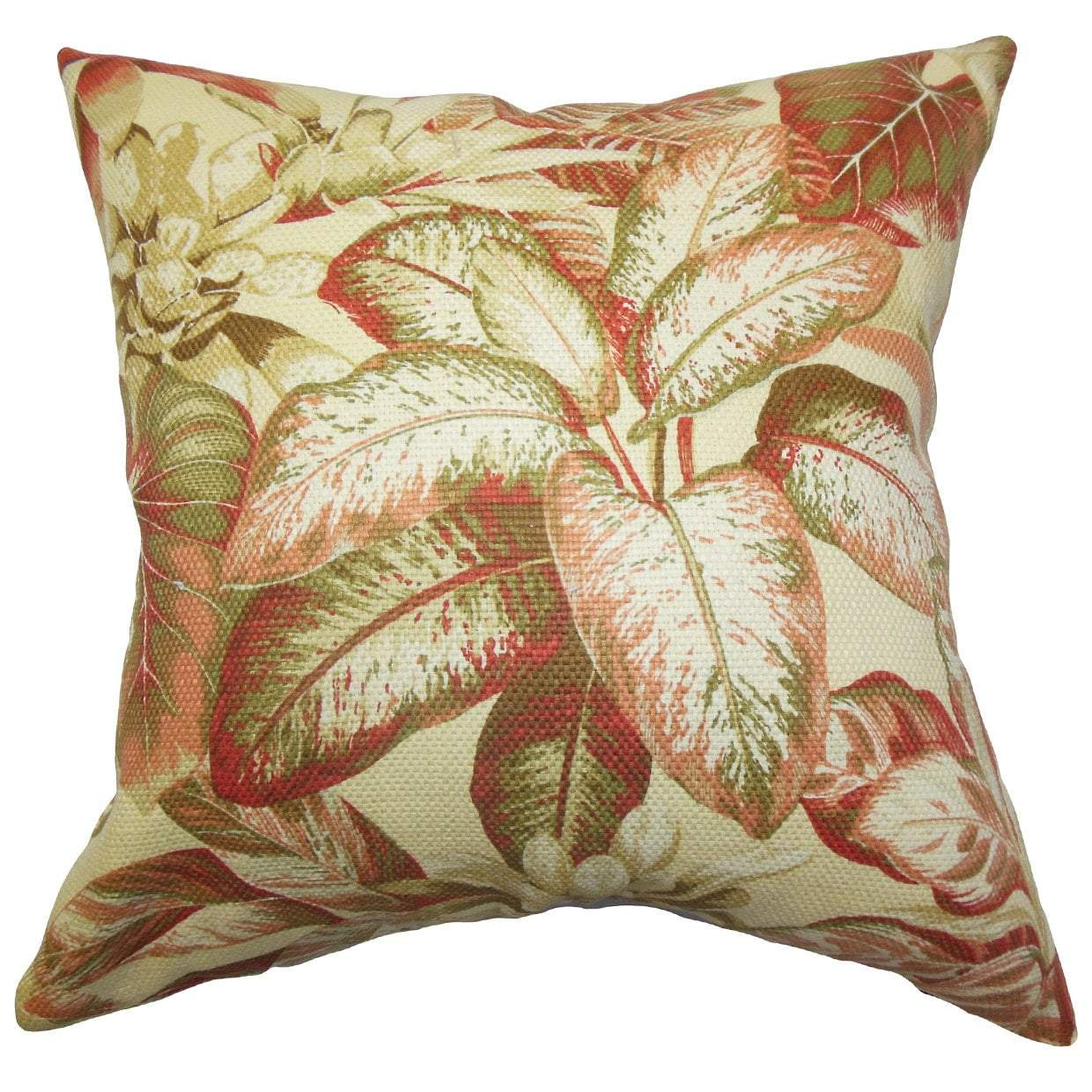 Multi Cotton Floral Coastal Throw Pillow Cover