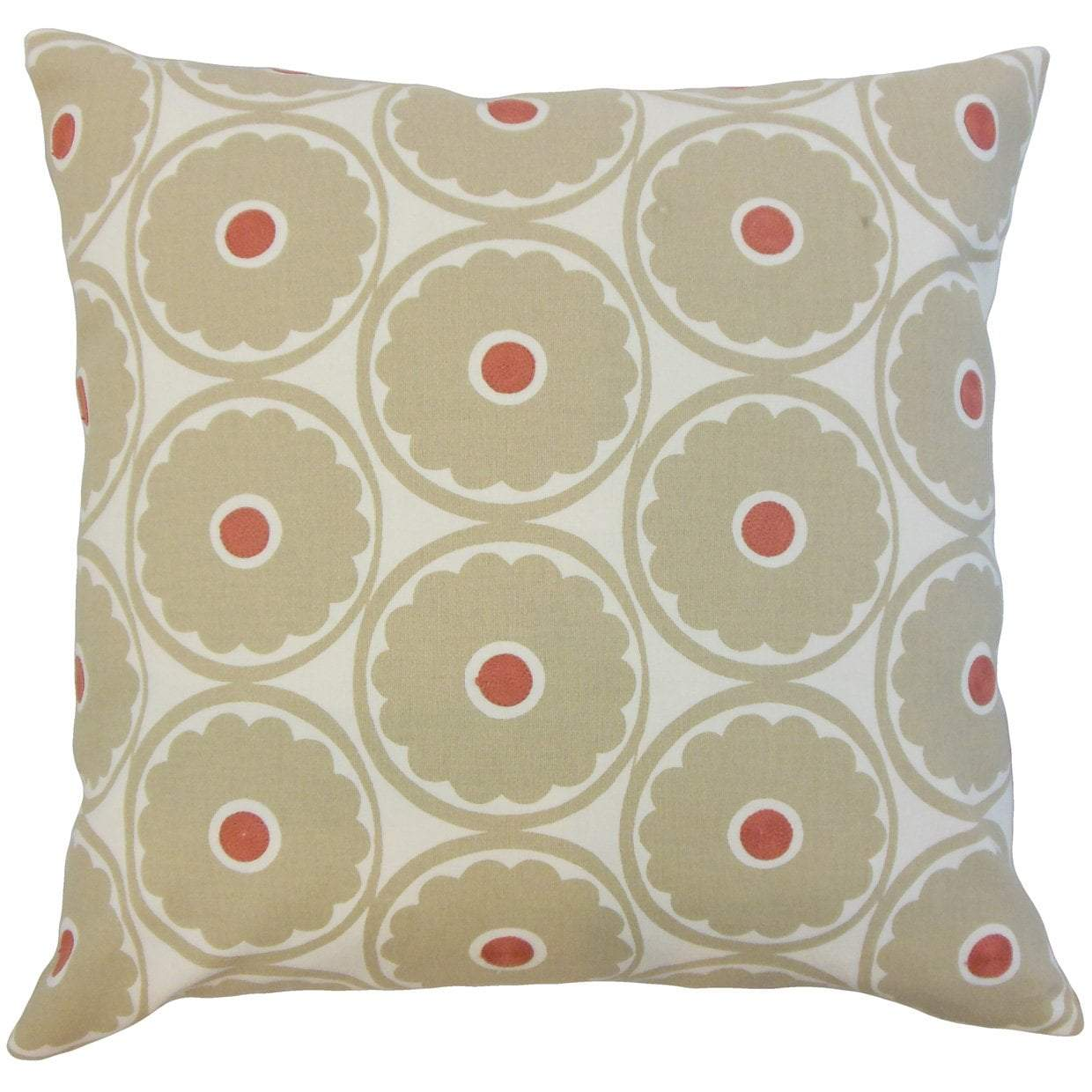 Brown Cotton Floral Contemporary Throw Pillow Cover