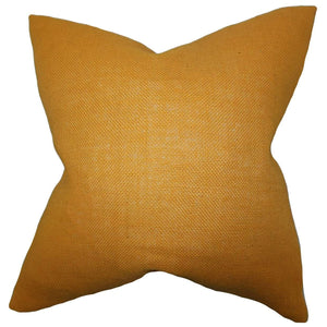 Yellow Synthetic Solid Contemporary Throw Pillow Cover