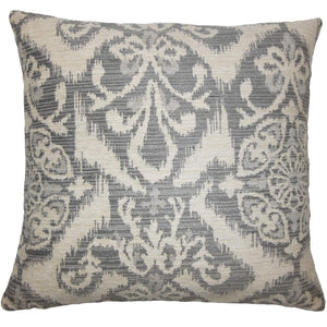 Gray Synthetic Ikat Boho Throw Pillow Cover