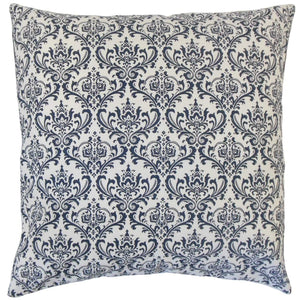 Navy Cotton Damask Traditional Throw Pillow Cover