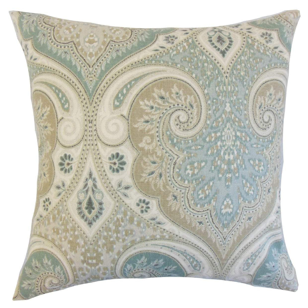 Light Blue Linen Damask Traditional Throw Pillow Cover