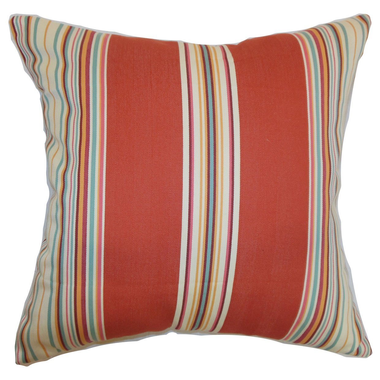 Red Cotton Striped Contemporary Throw Pillow Cover