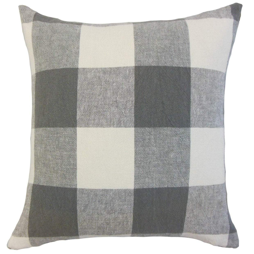 Gray Linen Plaid Preppy Throw Pillow Cover
