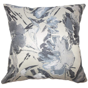 Gray Synthetic Graphic Contemporary Throw Pillow Cover