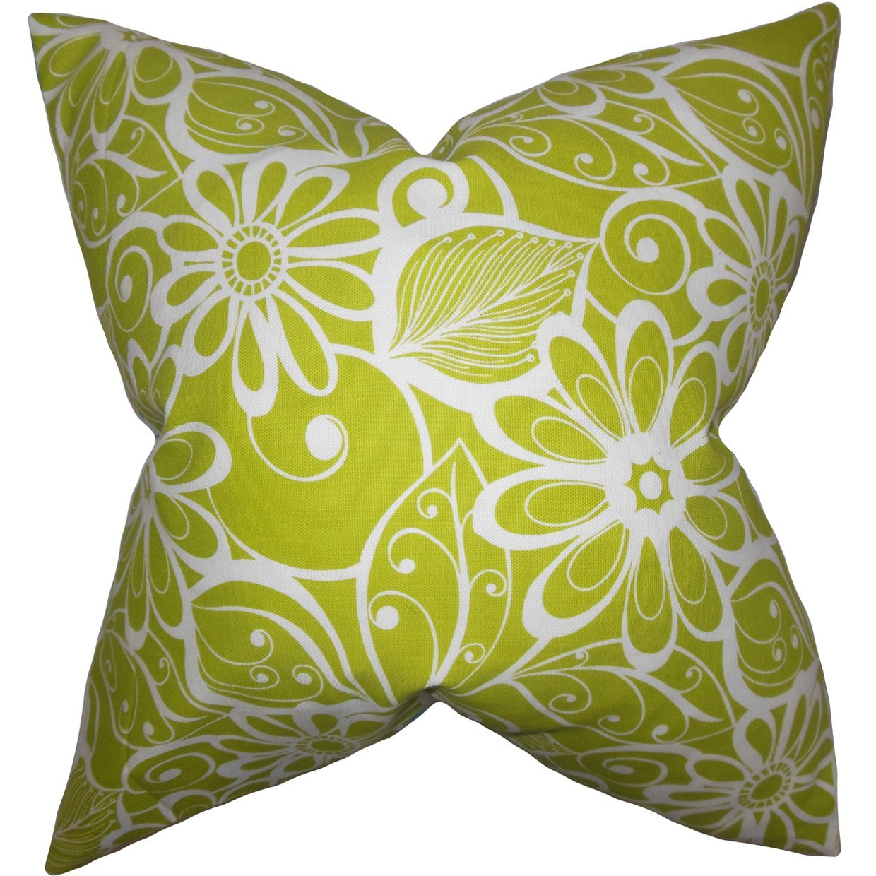 Green Synthetic Floral Contemporary Throw Pillow Cover