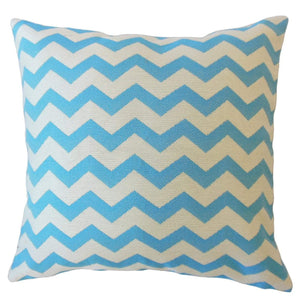Blue Synthetic Chevron Contemporary Throw Pillow Cover