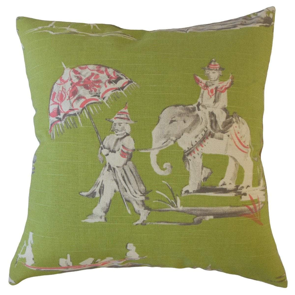 Green Cotton Graphic Traditional  Throw Pillow Cover