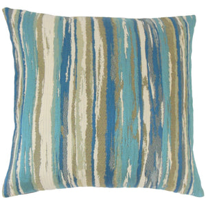 Blue Synthetic Striped Contemporary Throw Pillow Cover