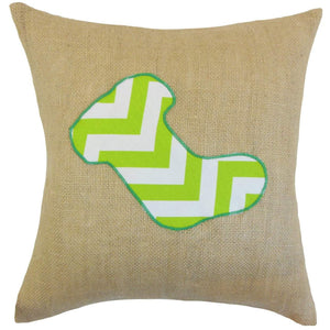Green Linen Graphic Holiday Throw Pillow Cover
