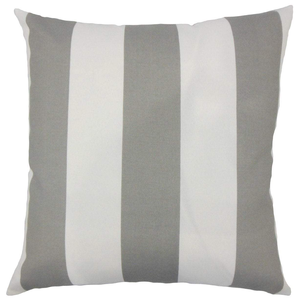 Gray Synthetic Striped Coastal Throw Pillow Cover