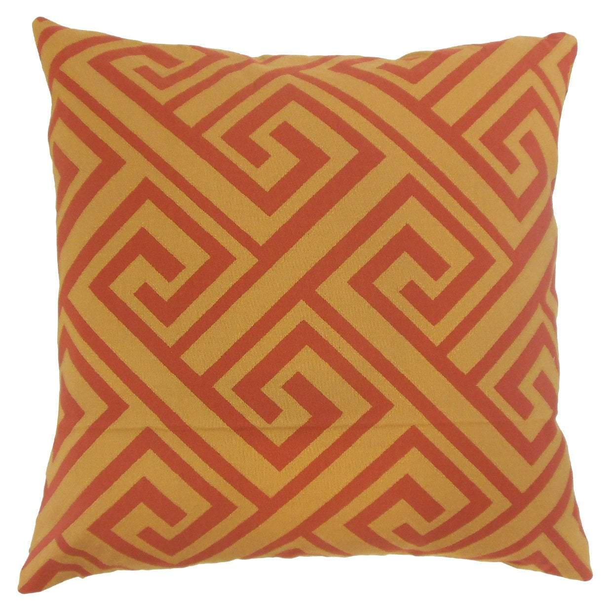 Orange Synthetic Geometric Contemporary Throw Pillow Cover