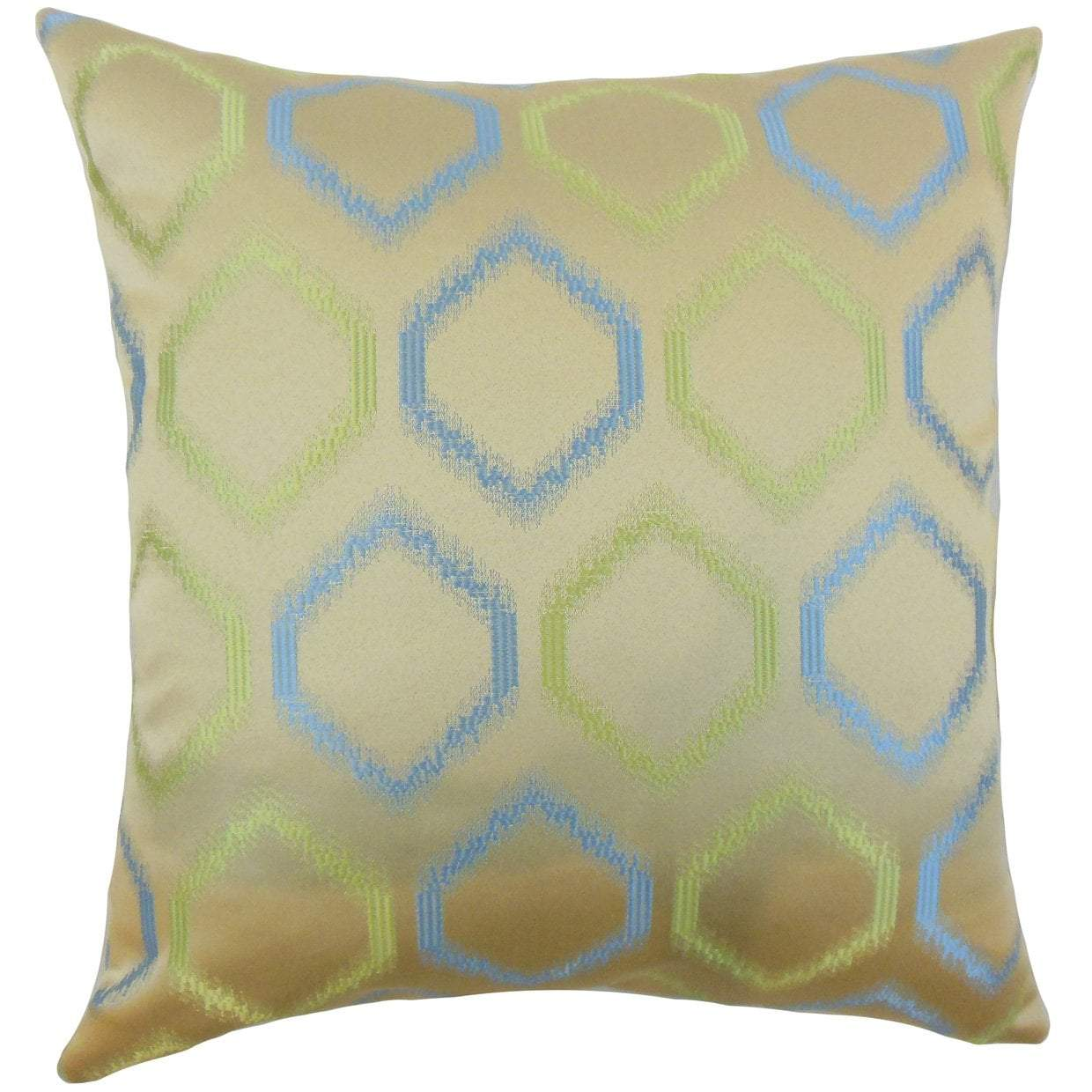 Blue Synthetic Geometric Contemporary Throw Pillow Cover
