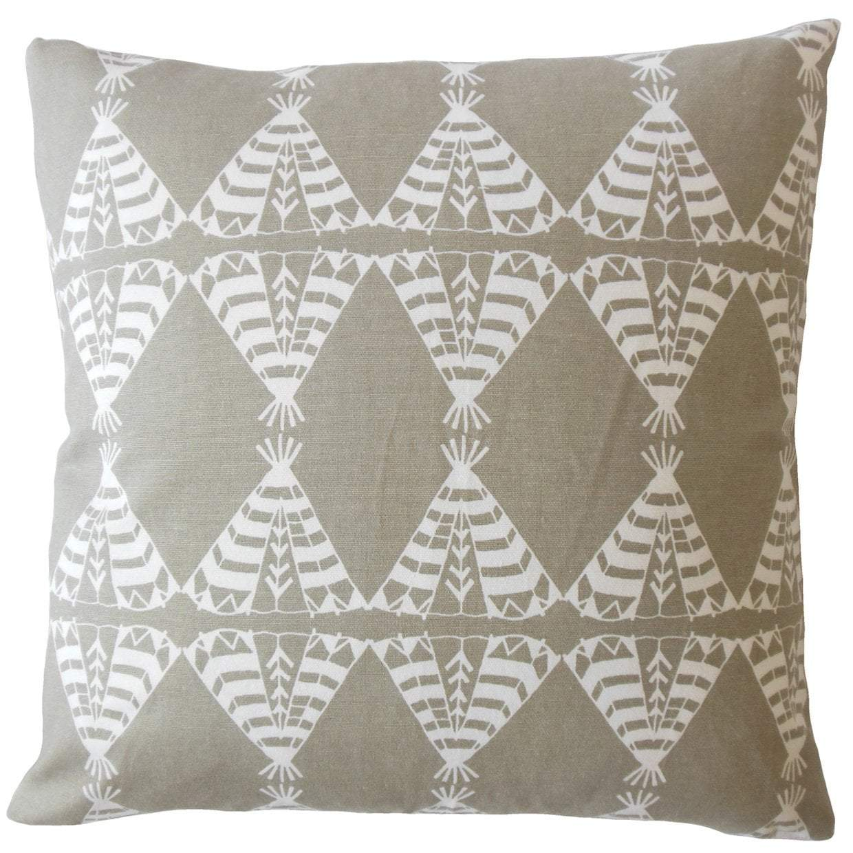 Light Gray Cotton Graphic Contemporary Throw Pillow Cover