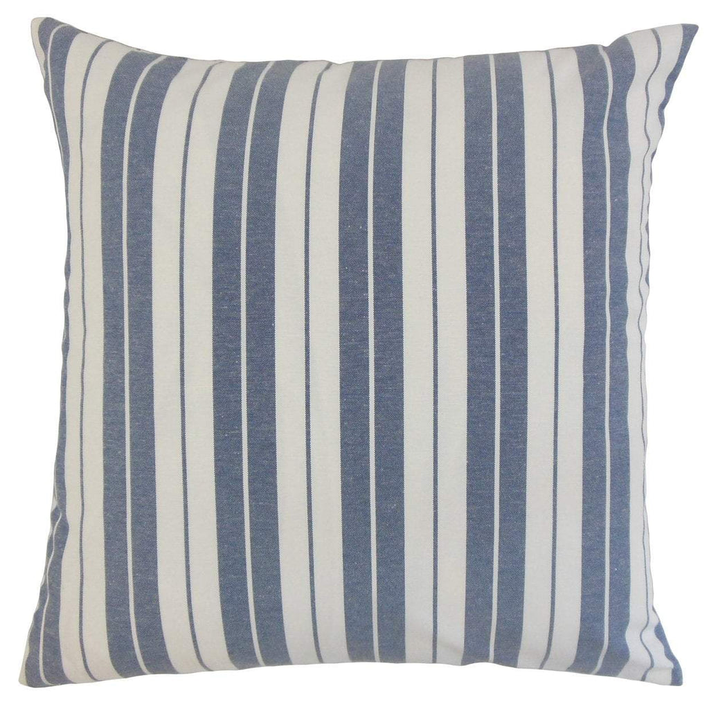 Navy Cotton Striped Contemporary Throw Pillow Cover