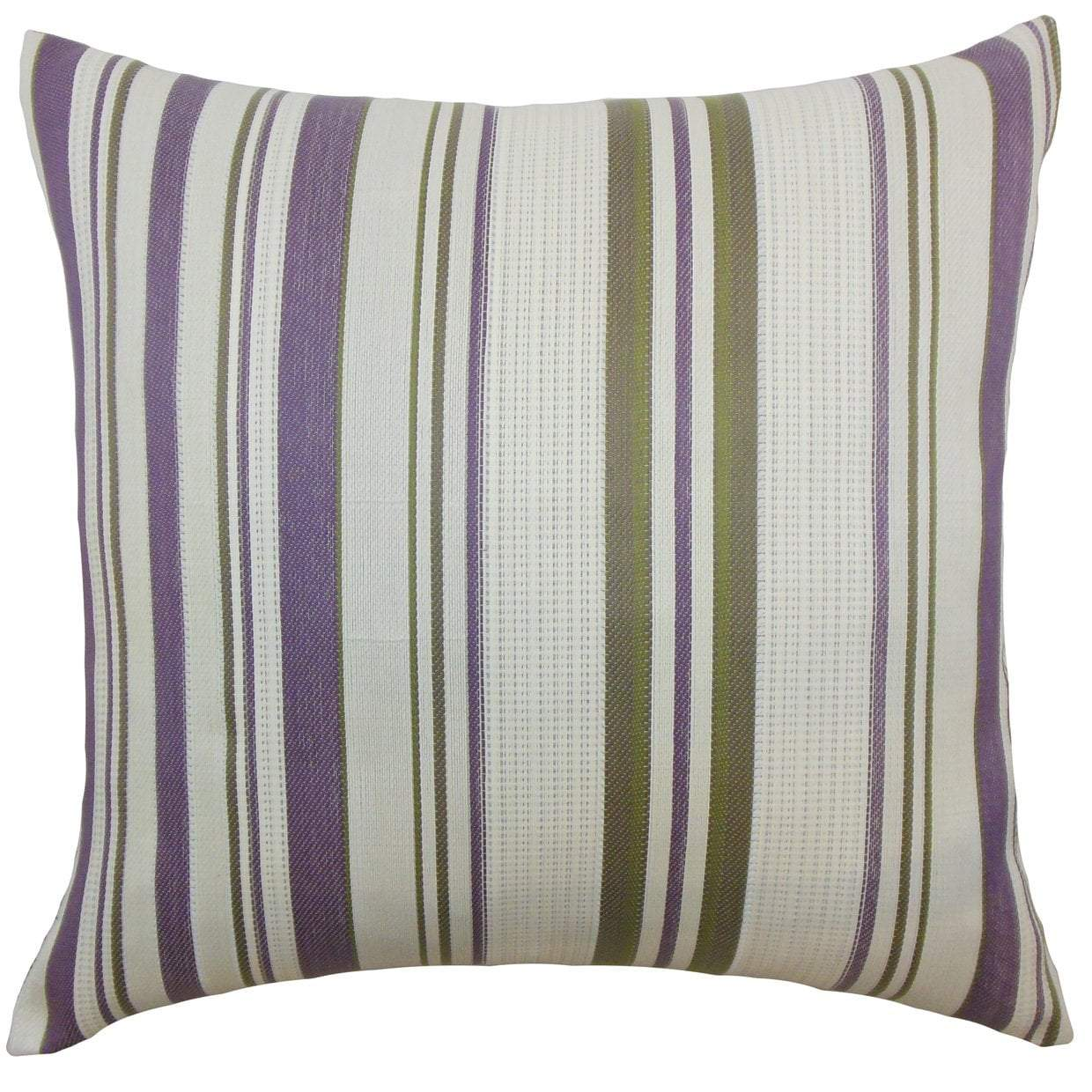 Purple Synthetic Striped Contemporary Throw Pillow Cover