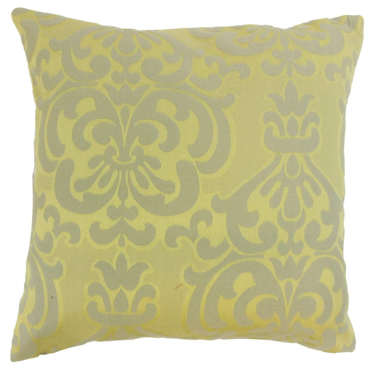 Green Cotton Damask Traditional Throw Pillow Cover