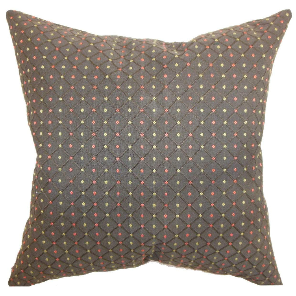 Brown Synthetic Polka Dot Contemporary Throw Pillow Cover