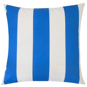 Blue Synthetic Striped Coastal Throw Pillow Cover
