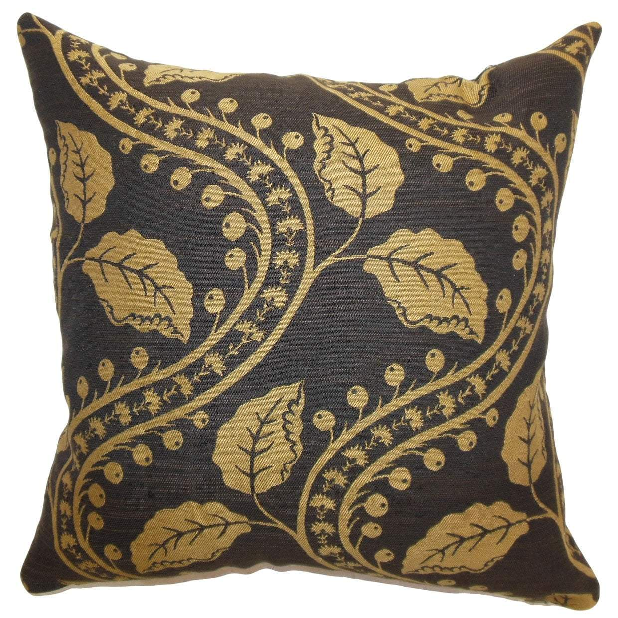 Black Cotton Floral Traditional Throw Pillow Cover