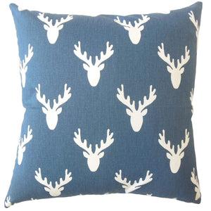 Blue Cotton Graphic Contemporary Throw Pillow Cover