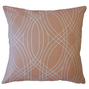 Pink Cotton Geometric Contemporary Throw Pillow Cover