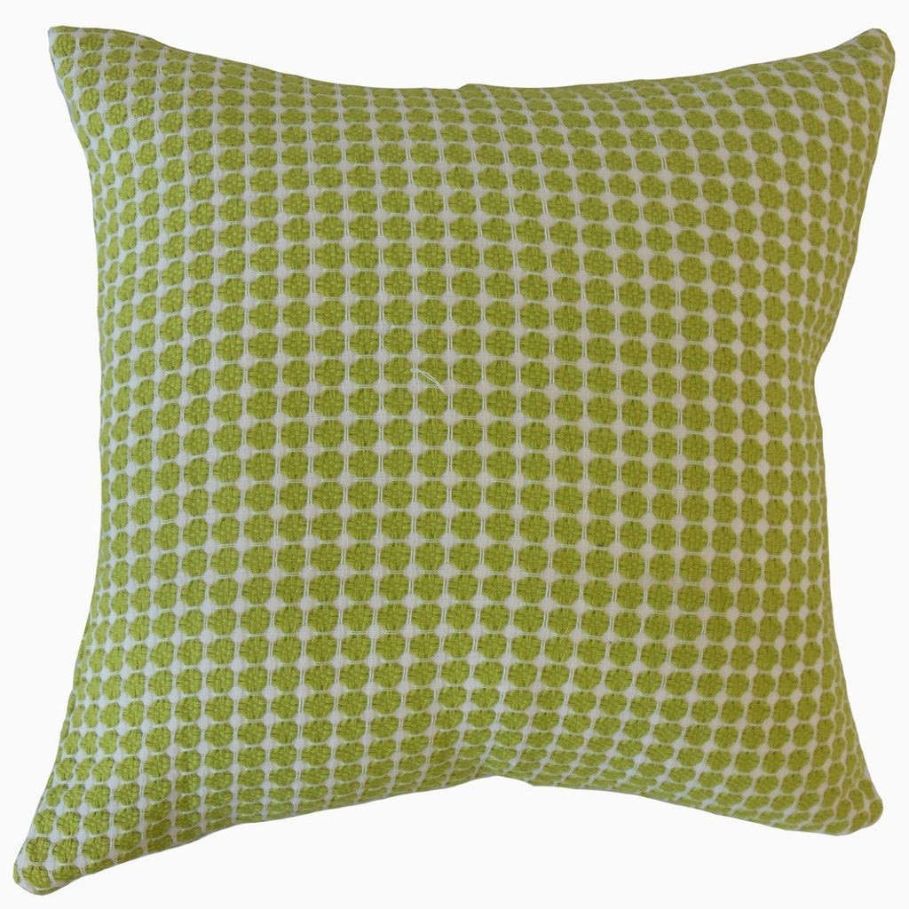 Green Cotton Polka Dot Contemporary  Throw Pillow Cover
