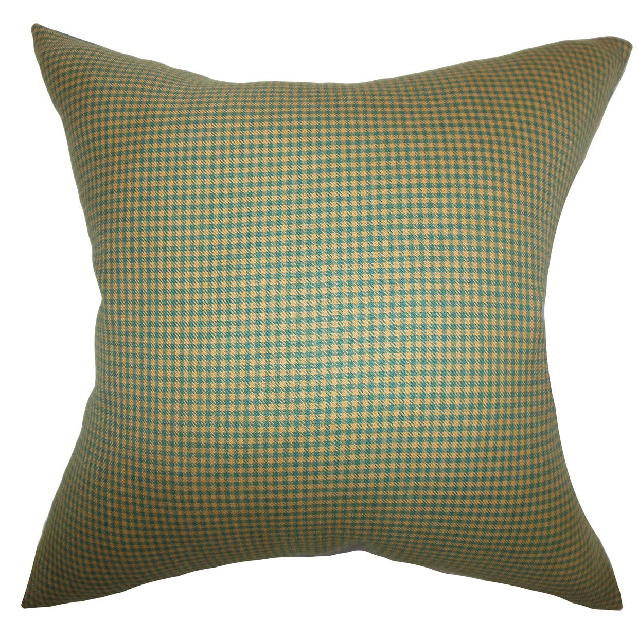 Green Cotton Plaid Contemporary Throw Pillow Cover