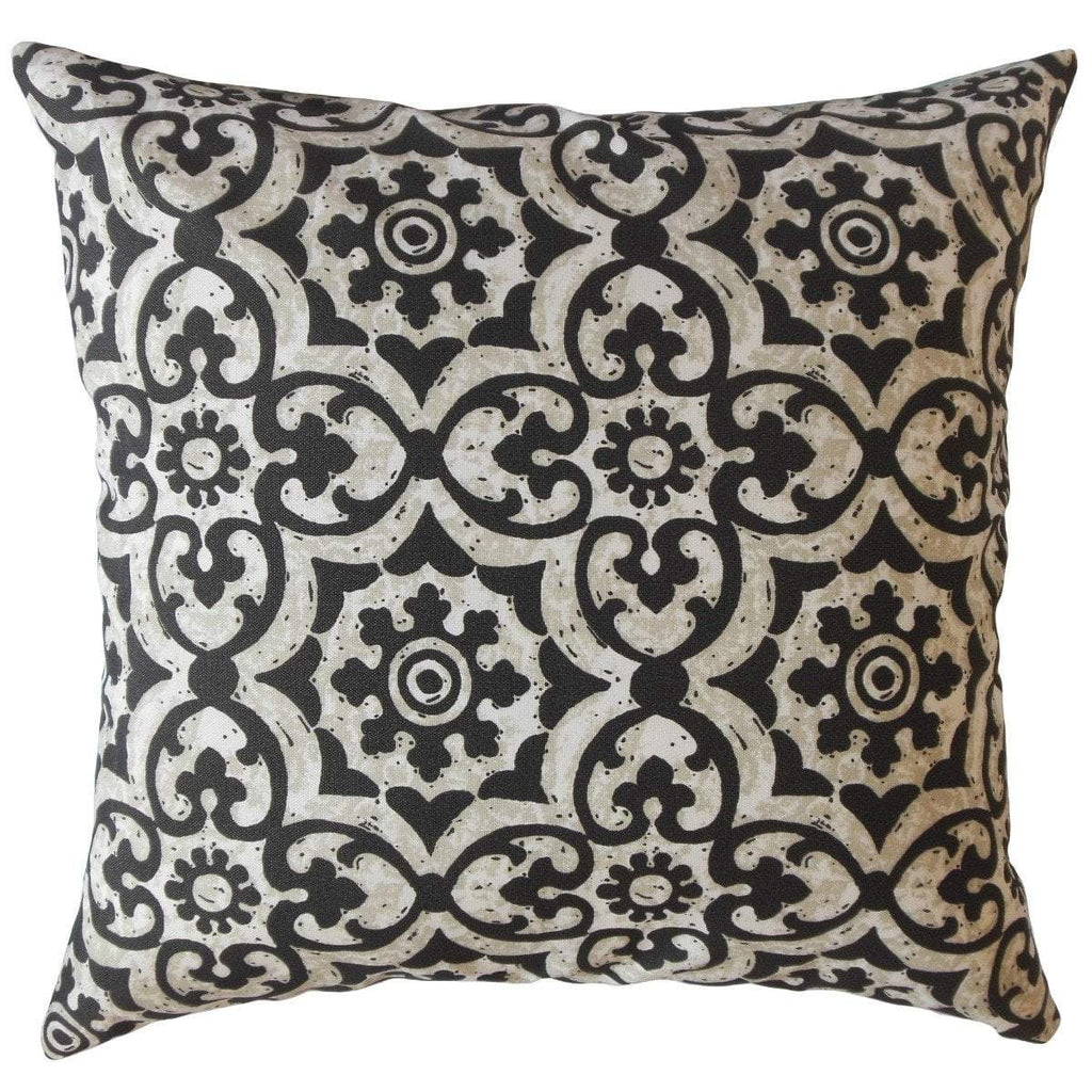 Black Synthetic Damask Traditional  Throw Pillow Cover