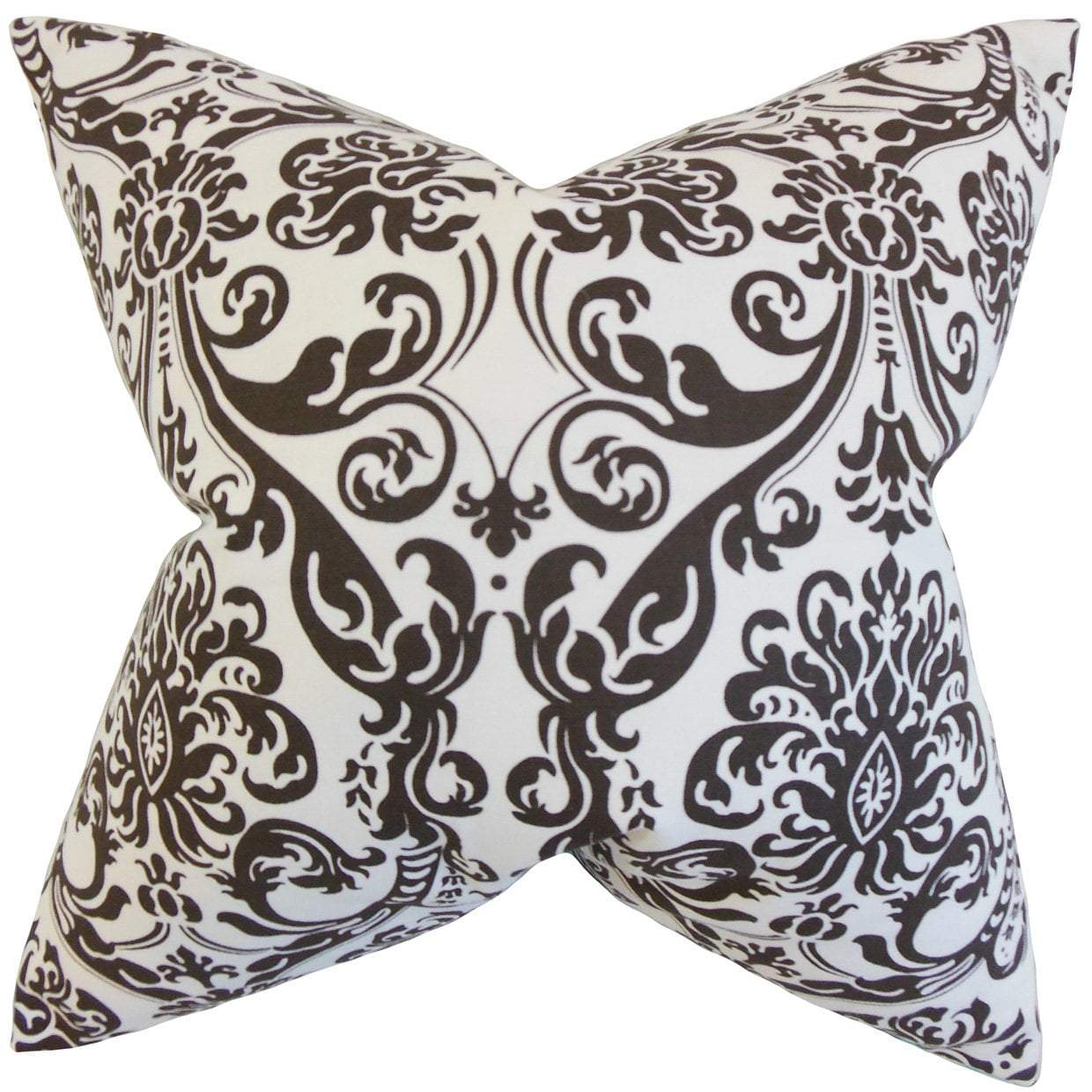 Cotton Damask Traditional Throw Pillow Cover