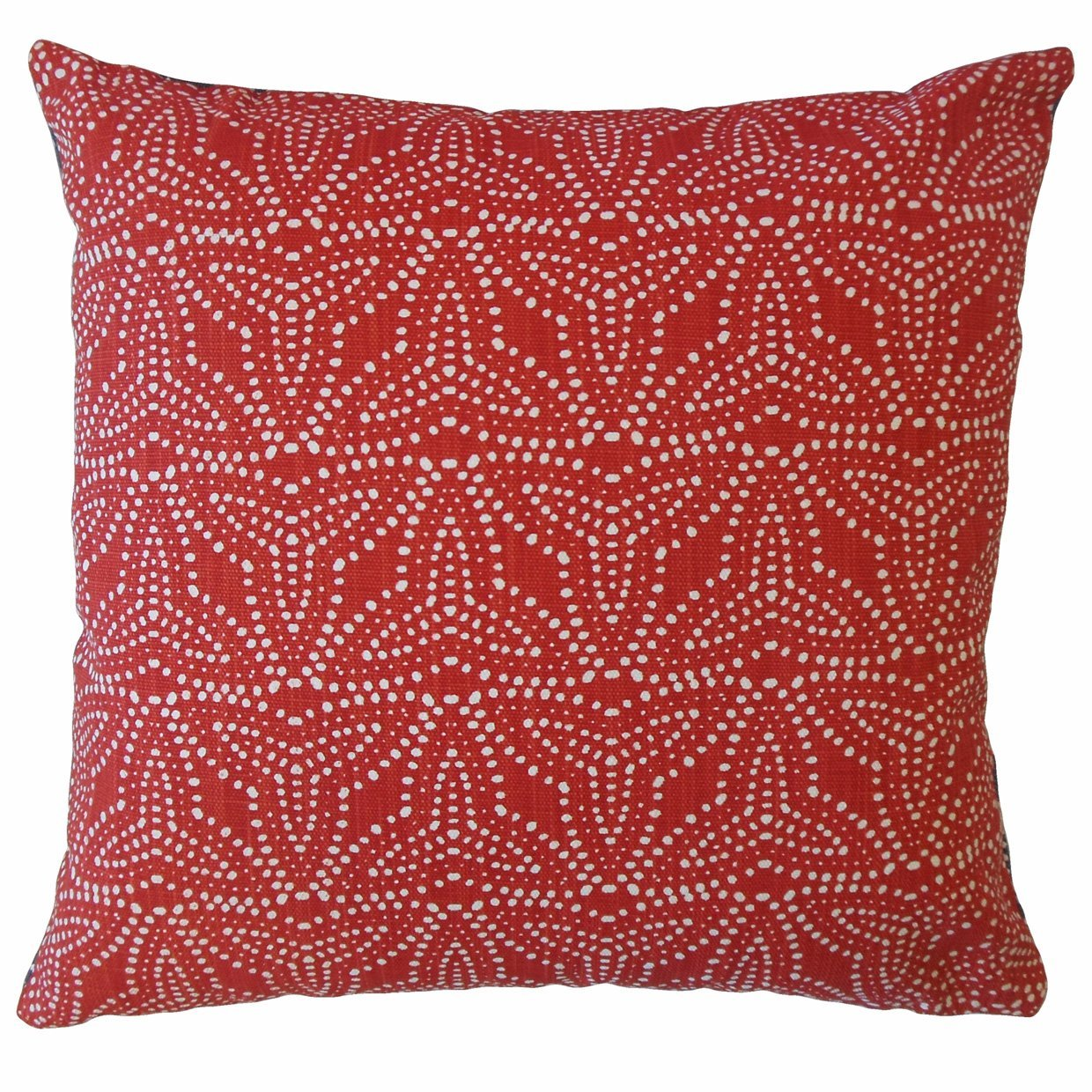 Red Cotton Geometric Contemporary Throw Pillow Cover