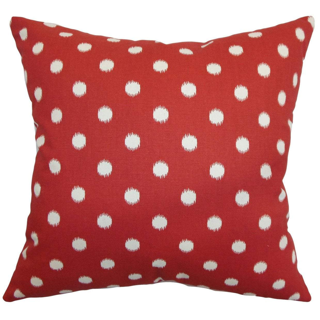 Red Cotton Polka Dot Contemporary Throw Pillow Cover