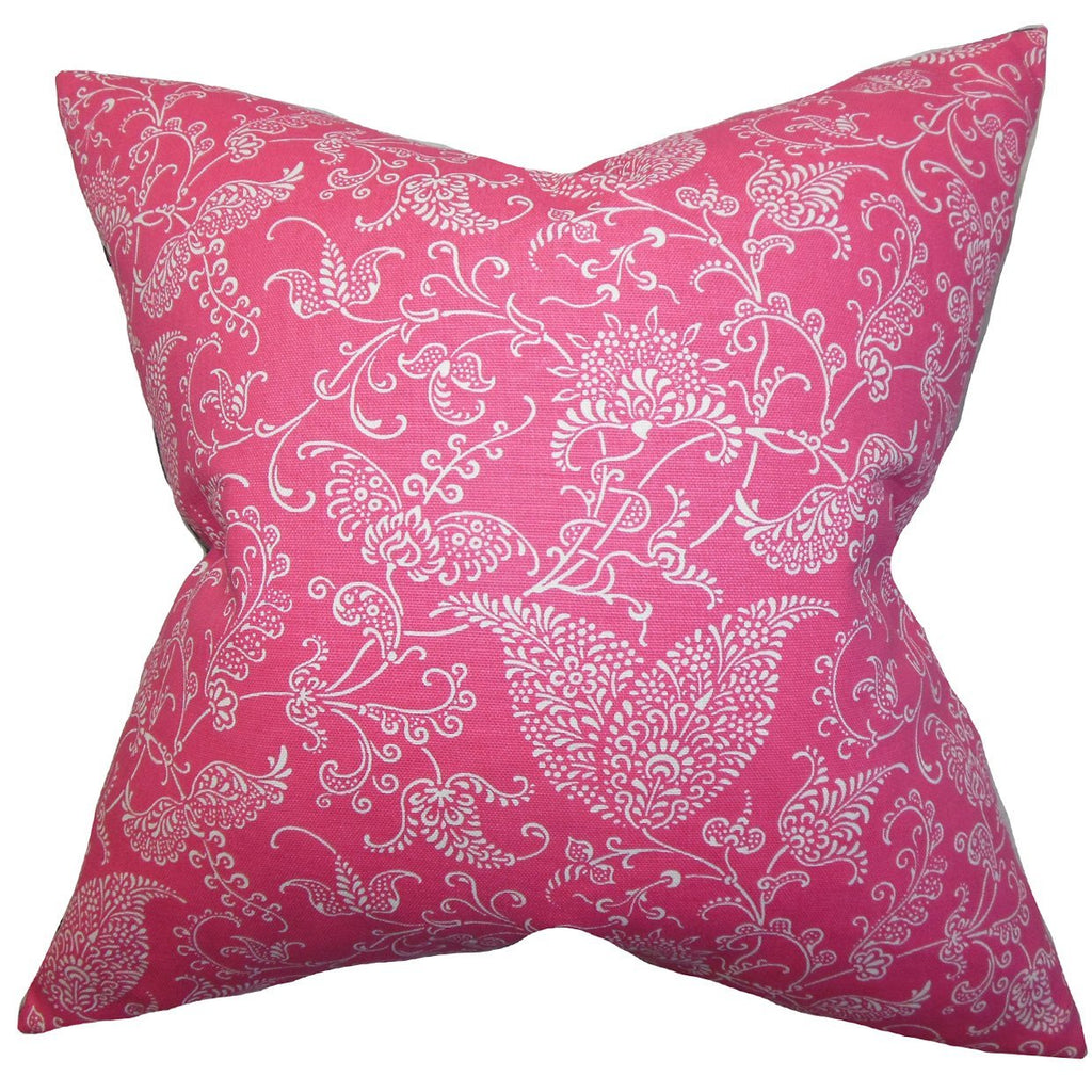 Pink Cotton Floral Contemporary Throw Pillow Cover