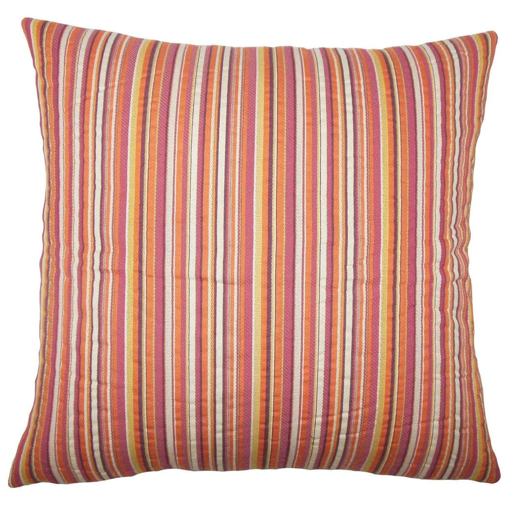 Pink Cotton Striped Contemporary Throw Pillow Cover