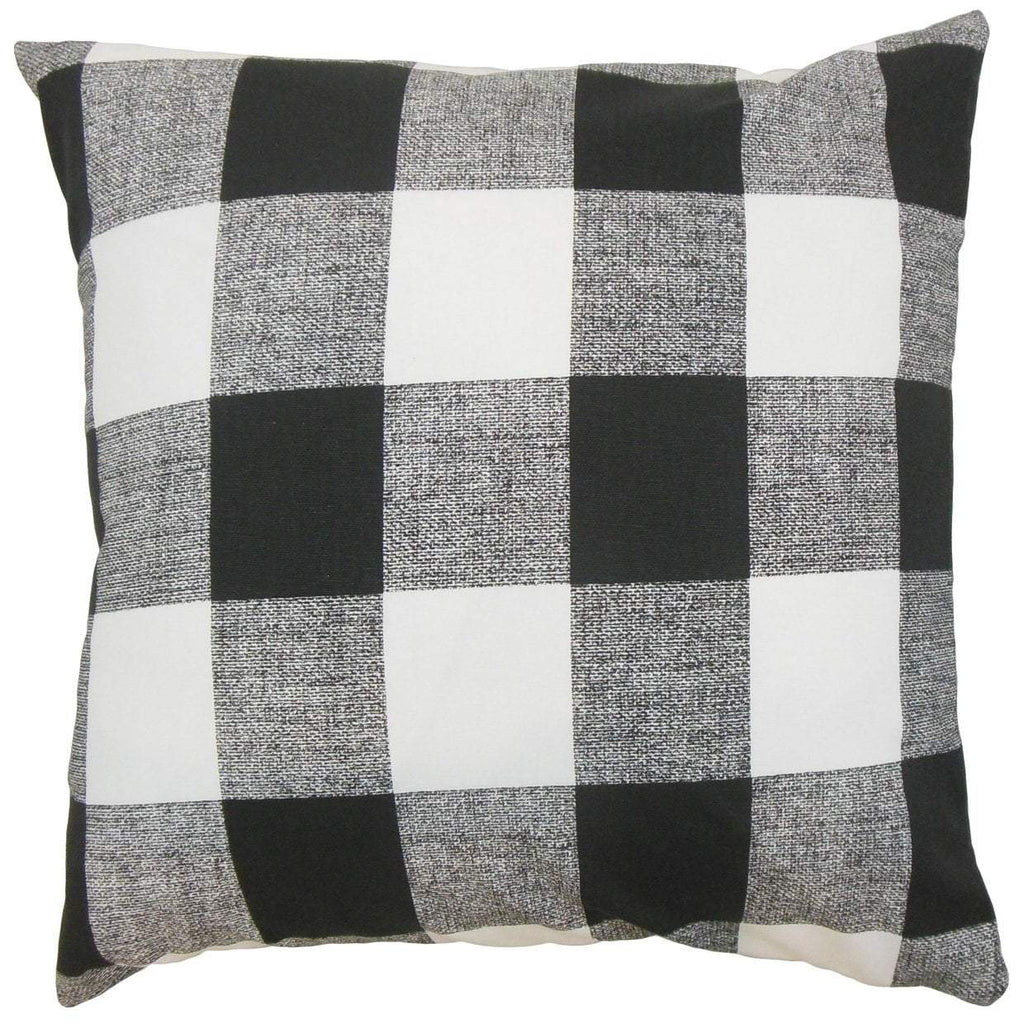 Black Cotton Plaid Preppy Throw Pillow Cover
