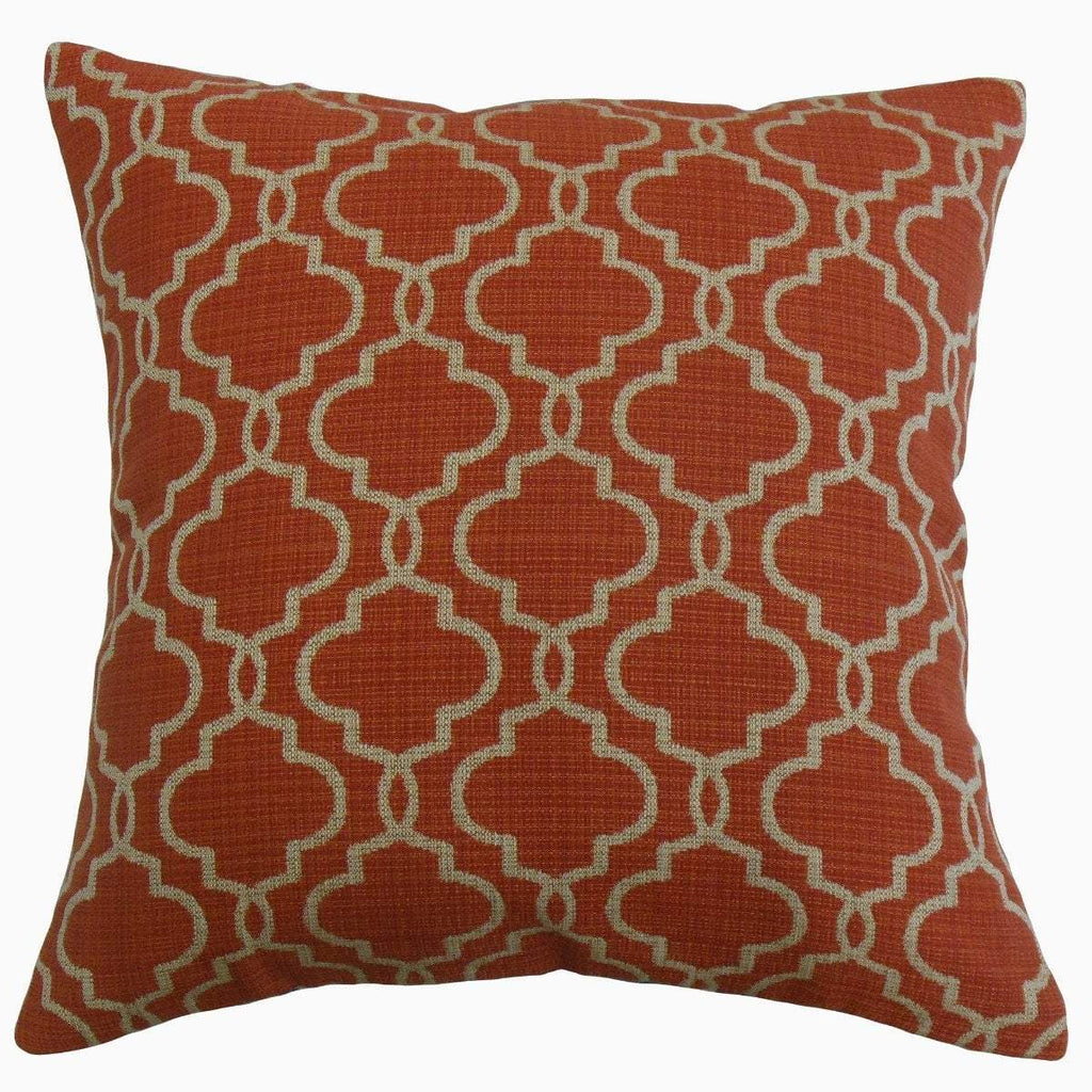 Red Synthetic Geometric Contemporary  Throw Pillow Cover