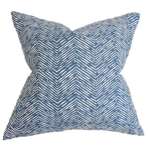 Blue Cotton Chevron Contemporary Throw Pillow Cover