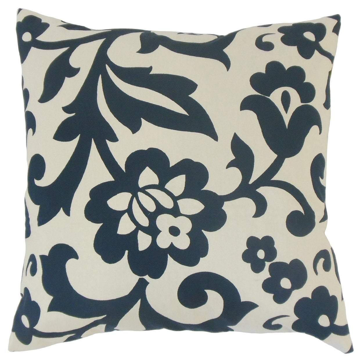 Blue Synthetic Floral Traditional Throw Pillow Cover