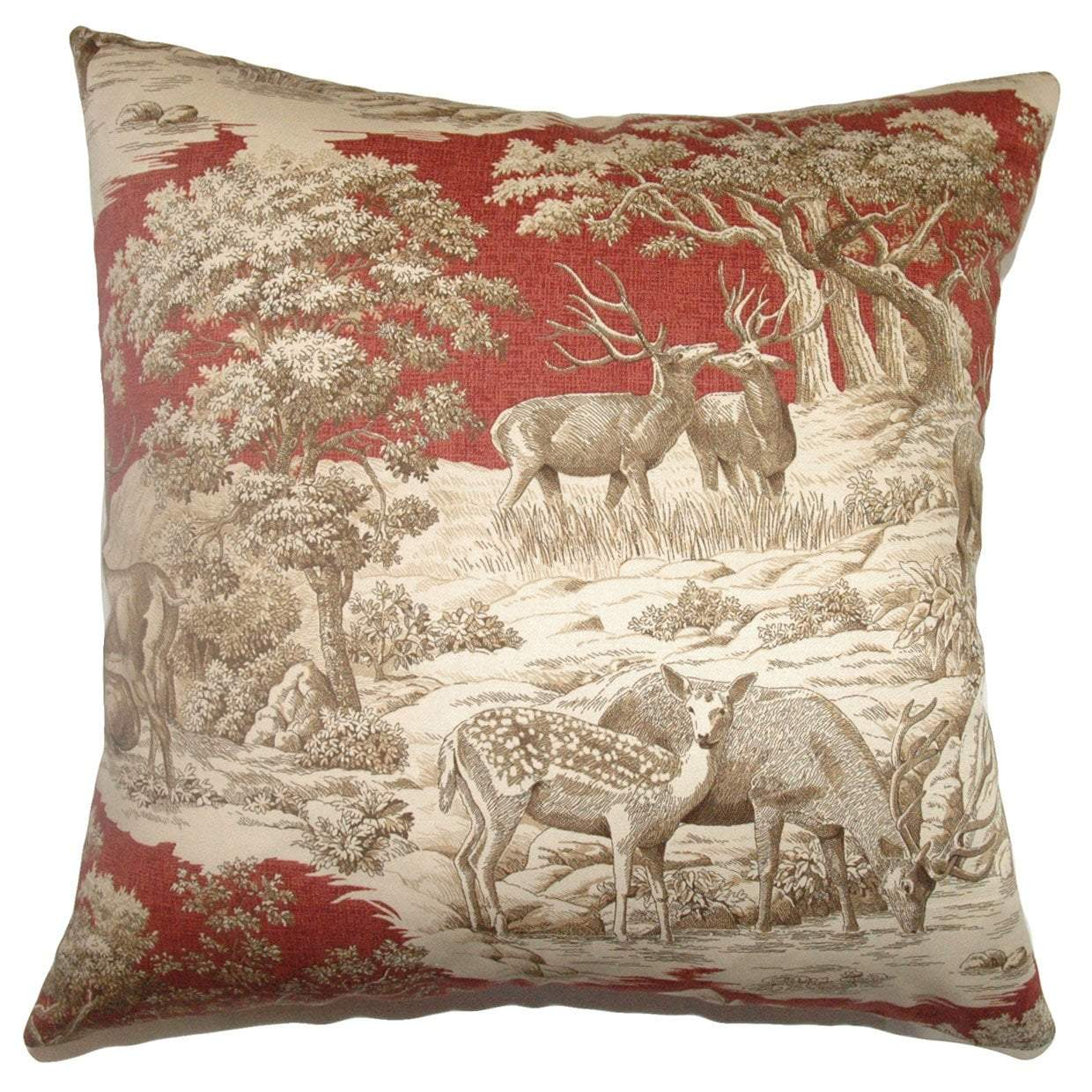 Cotton Toile Traditional Throw Pillow Cover