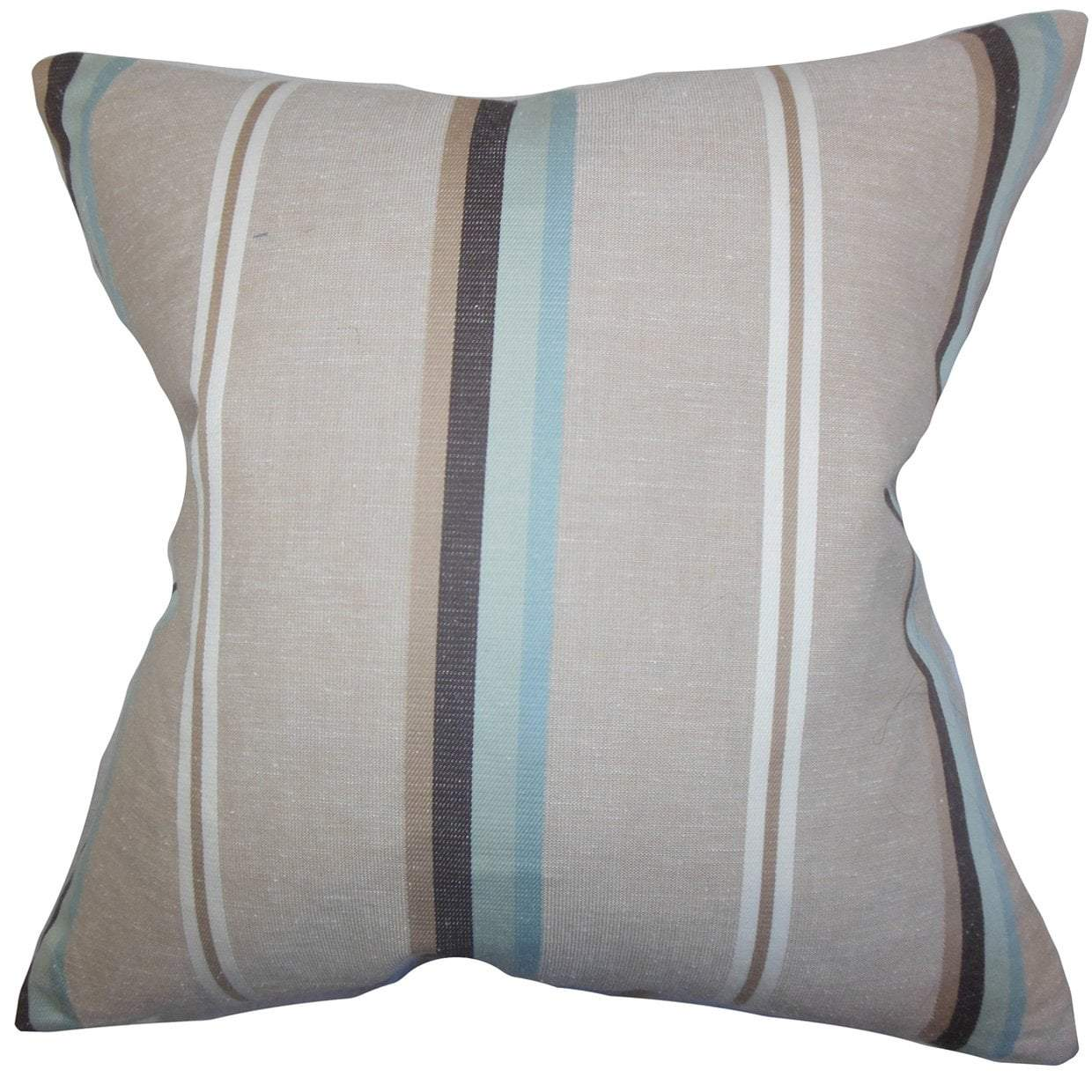 Gray Linen Striped Contemporary Throw Pillow Cover