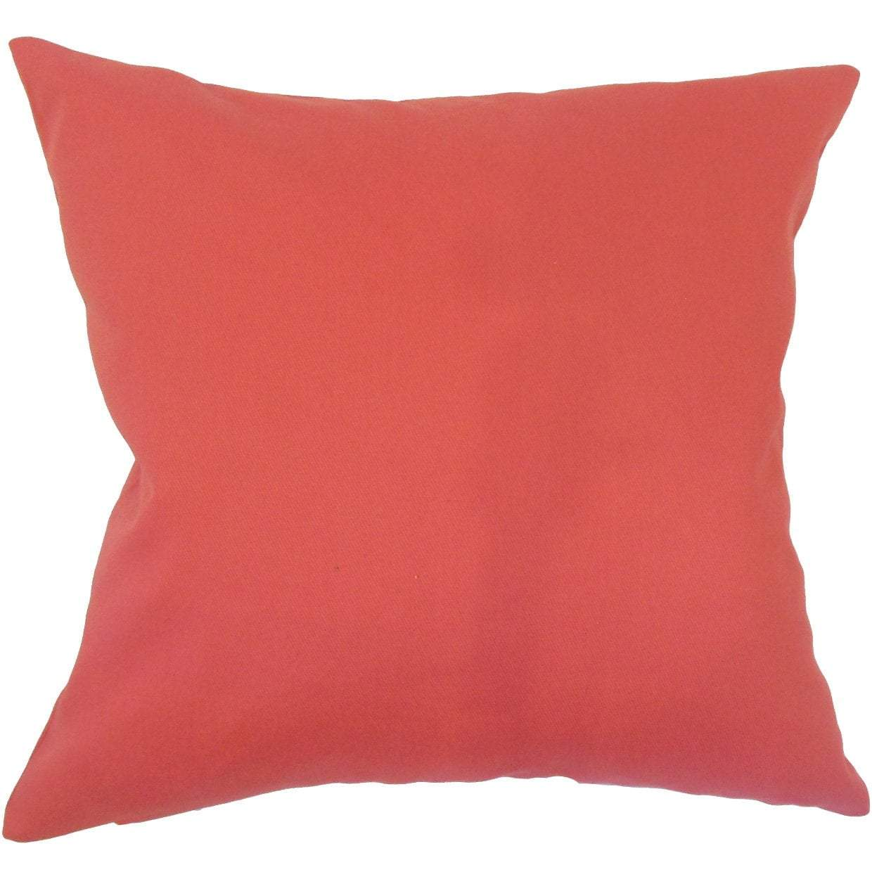 Red Cotton Solid Contemporary Throw Pillow Cover
