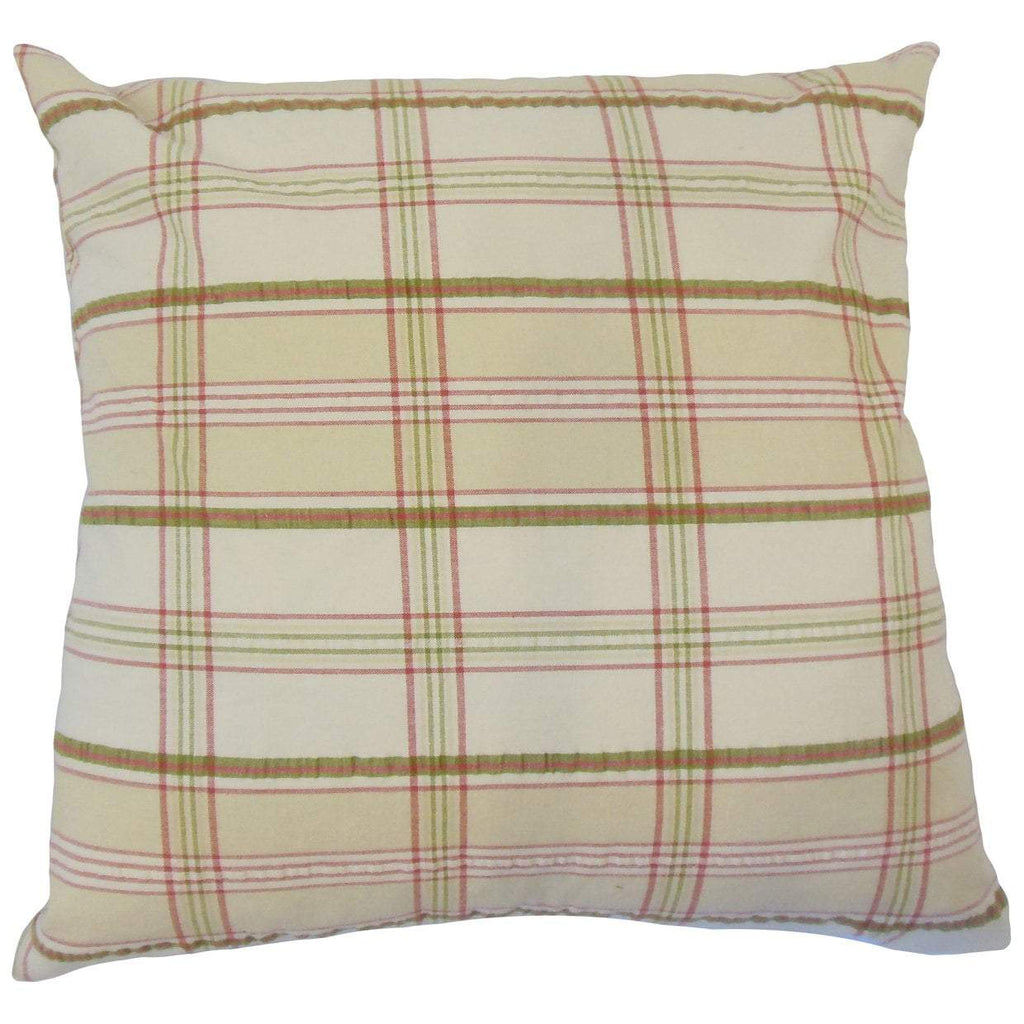 Tan Cotton Plaid Contemporary Throw Pillow Cover