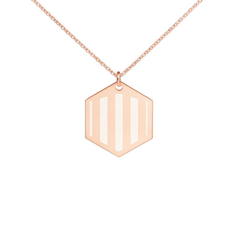 Stripe- Engraved Hexagon Necklace