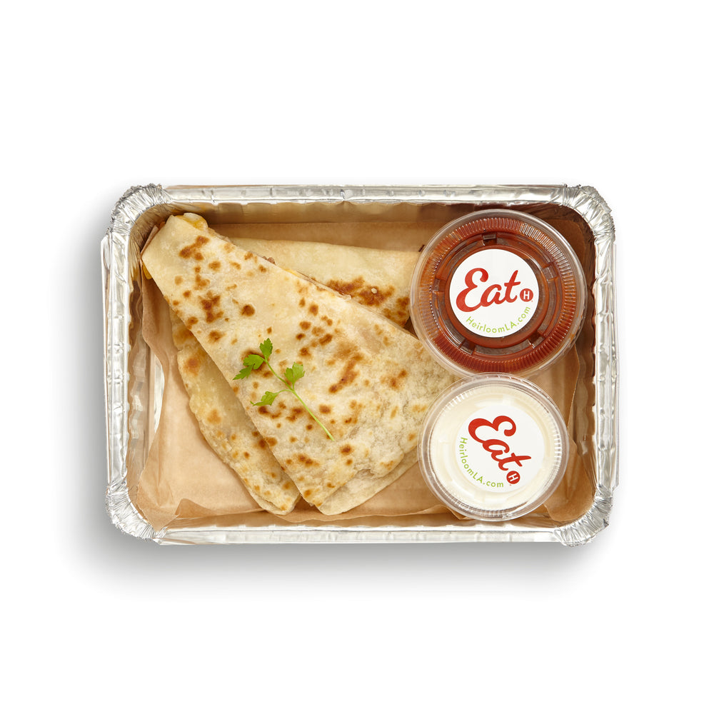 Load image into Gallery viewer, Pasture-Raised Chicken Quesadilla with Mild Salsa & Sour Cream