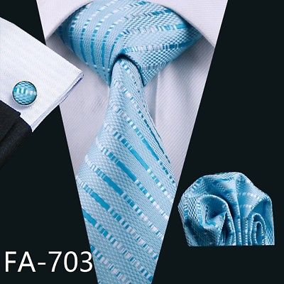Men's Coordinated Silk Tie Set - Sky Blue Striped
