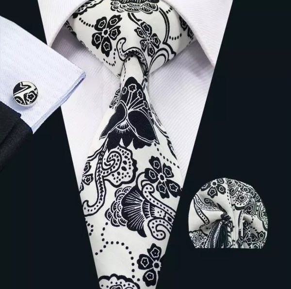 Men's Silk Coordinated Tie Set - Black and White Floral
